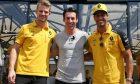 Nico Hulkenberg (GER) Renault F1 Team and Daniel Ricciardo (AUS) Renault F1 Team with Simon Pagenaud (FRA) Team Penske IndyCar Driver.