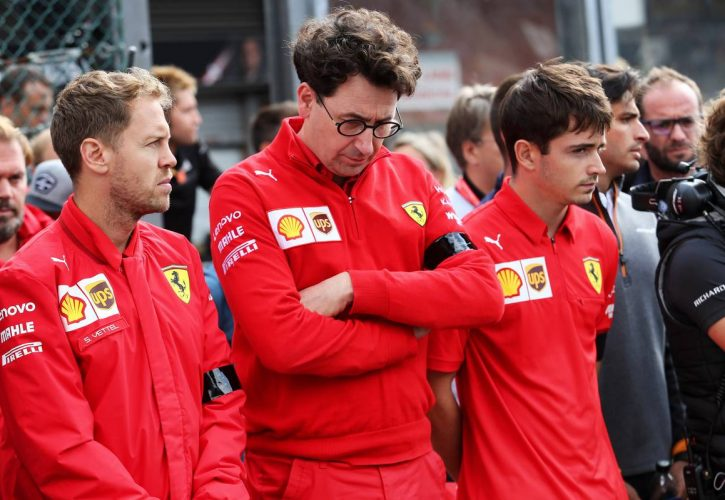Sebastian Vettel (GER) Ferrari; Mattia Binotto (ITA) Ferrari Team Principal and Charles Leclerc (MON) Ferrari.