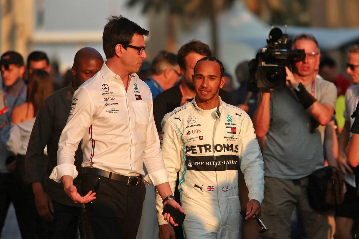 Lewis Hamilton (GBR) Mercedes AMG F1 with Toto Wolff (GER) Mercedes AMG team principal