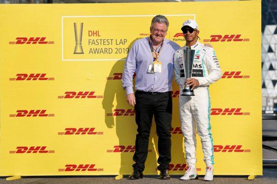 Lewis Hamilton (GBR) Mercedes AMG F1 - DHL Fastest Lap Award. 01.12.2019. Formula 1 World Championship, Rd 21, Abu Dhabi Grand Prix, Yas Marina Circuit, Abu Dhabi, Race Day.  - www.xpbimages.com, EMail: requests@xpbimages.com © Copyright: Dungan / XPB Images