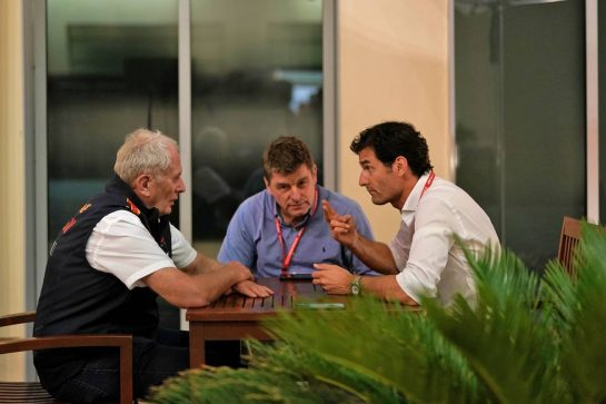 Dr Helmut Marko (AUT) Red Bull Motorsport Consultant with Mark Webber (AUS) Channel 4 Presenter.