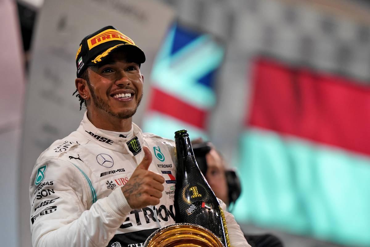 Race winner Lewis Hamilton (GBR) Mercedes AMG F1 celebrates on the podium. 01.12.2019.