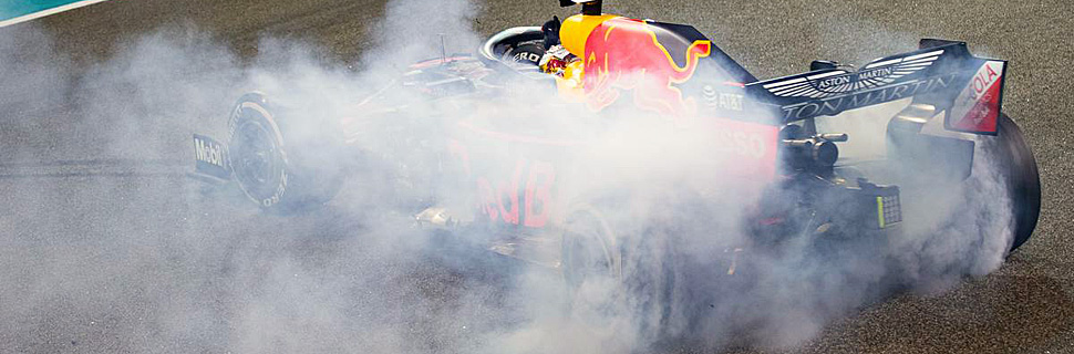 Max Verstappen (NLD) Red Bull Racing RB15 celebrates his second position at the end of the race.