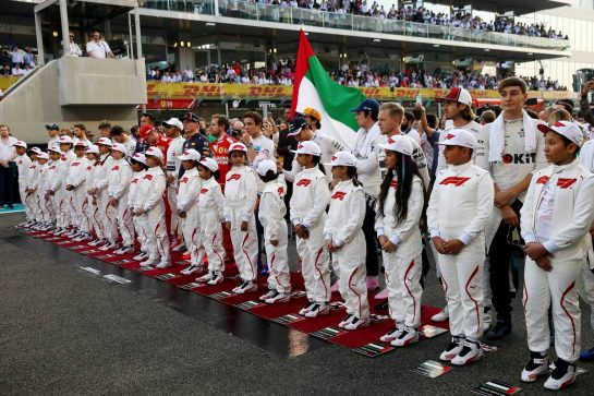 The drivers during the National Anthem.