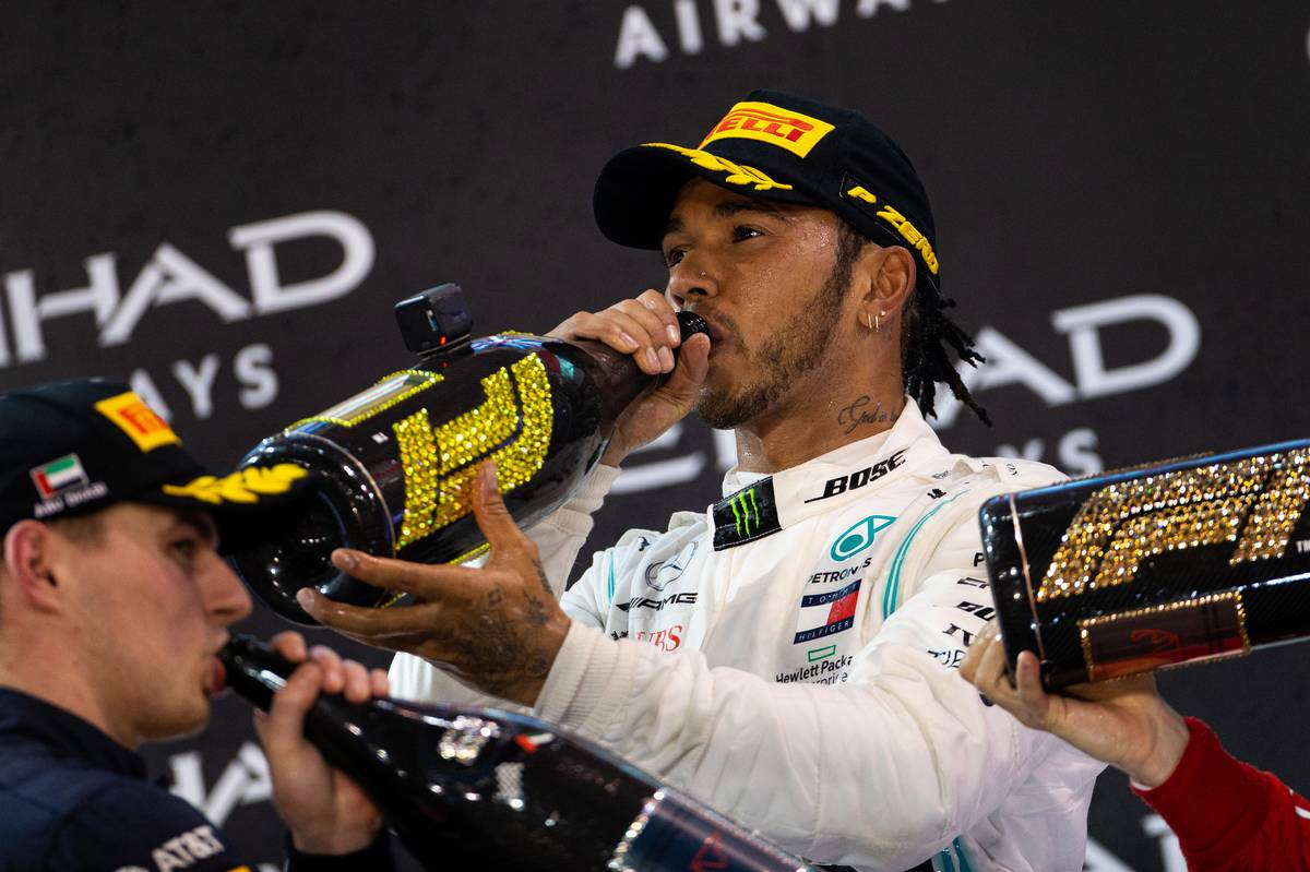 Race winner Lewis Hamilton (GBR) Mercedes AMG F1 celebrates on the podium. 01.12.2019.