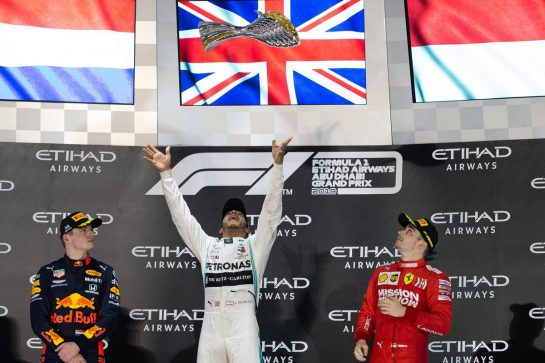 The podium (L to R): Max Verstappen (NLD) Red Bull Racing, second; Lewis Hamilton (GBR) Mercedes AMG F1, race winner; Charles Leclerc (MON) Ferrari, third.