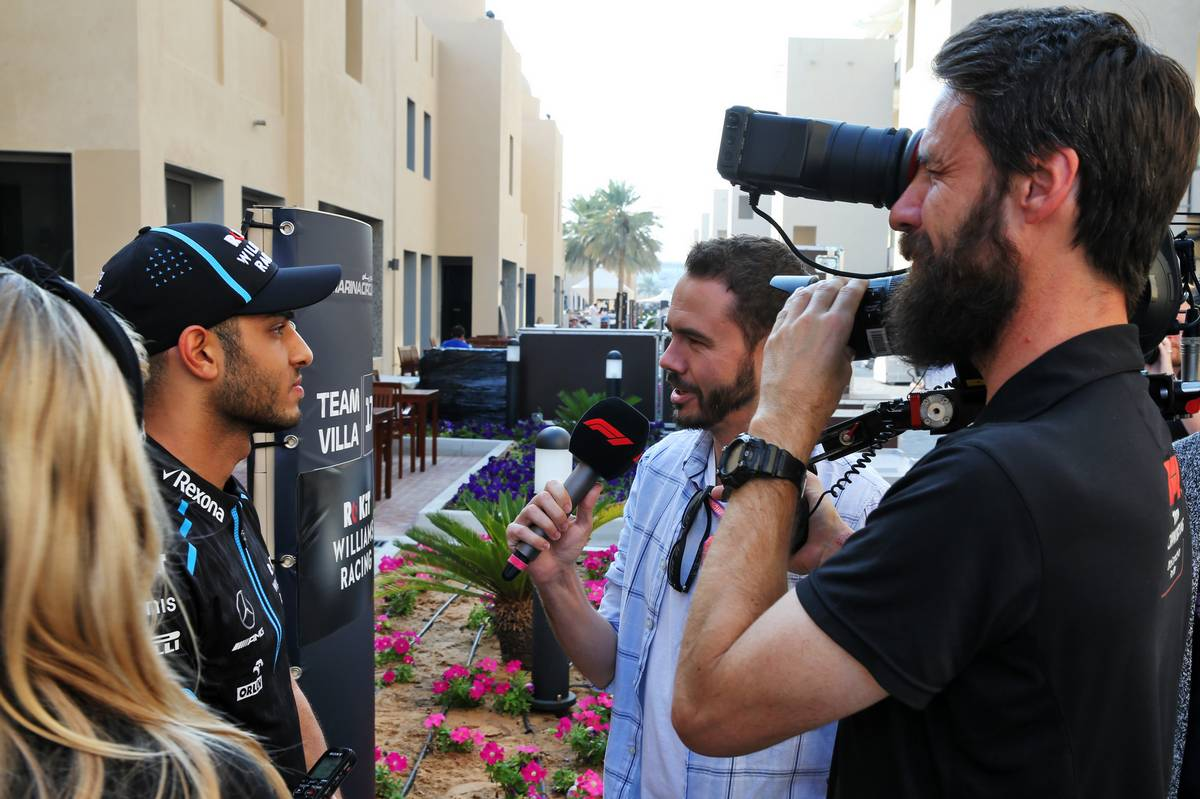 Roy Nissany (ISR) Williams Racing Test Driver with the media.