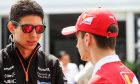 Esteban Ocon (FRA) Sahara Force India F1 Team with Charles Leclerc (MON) Ferrari Development Driver.