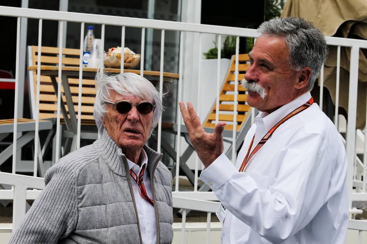 Bernie Ecclestone (GBR) with Chase Carey (USA) Formula One Group Chairman.