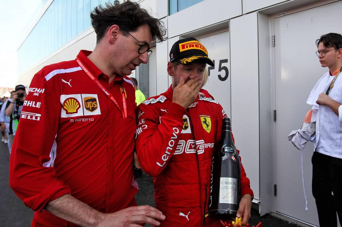 Sebastian Vettel (GER) Ferrari with Mattia Binotto (ITA) Ferrari Team Principal