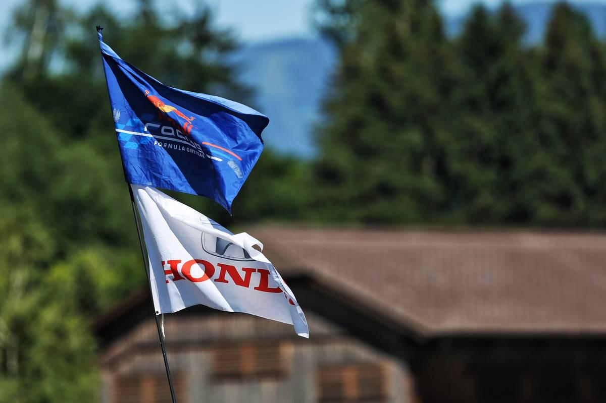 Red Bull Racing and Honda flags.