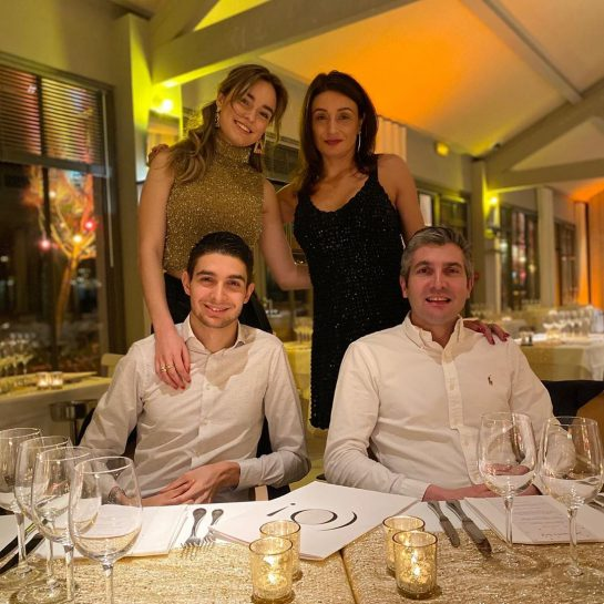 Esteban Ocon with his parents and girlfriend