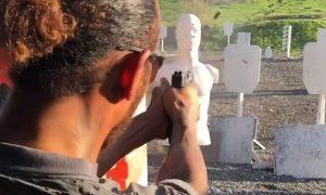 Future action hero Hamilton undergoes firearm training!