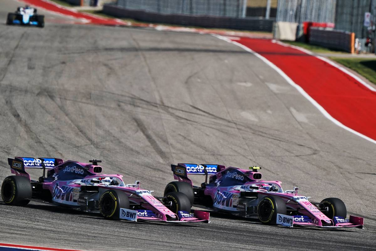 Lance Stroll (CDN) Racing Point F1 Team RP19 and Sergio Perez (MEX) Racing Point F1 Team RP19 battle for position.                                03.11.2019. F