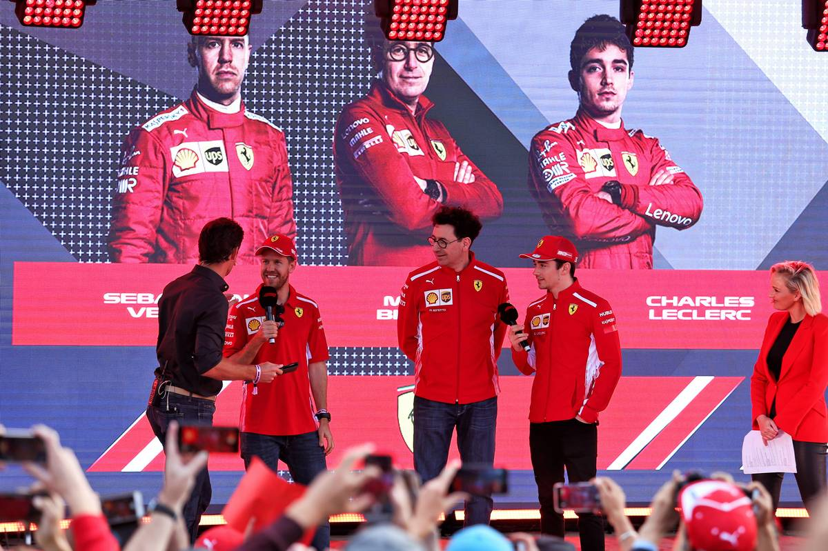 Sebastian Vettel (GER) Ferrari; Mattia Binotto (ITA) Ferrari Team Principal; and Charles Leclerc (MON) Ferrari, at the F1 Season Launch in Federation Square. 13.03.2019