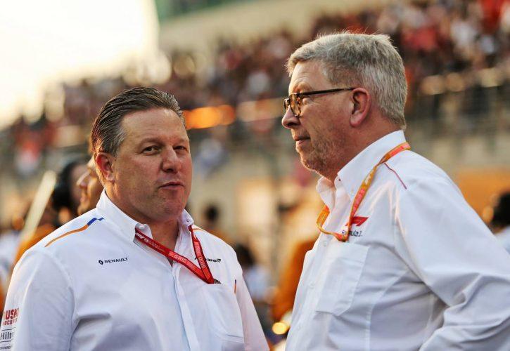 Zak Brown (USA) McLaren Executive Director with Ross Brawn (GBR) Managing Director, Motor Sports.