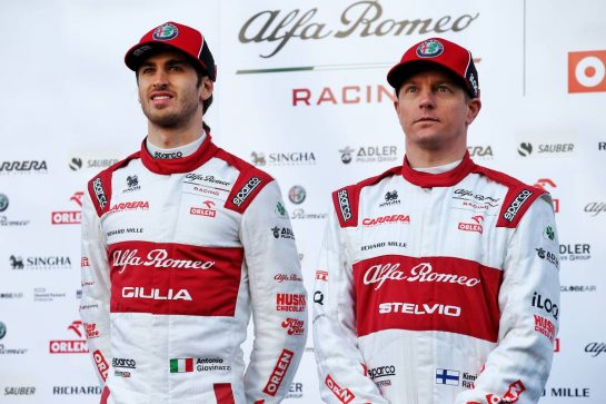 (L to R): Antonio Giovinazzi (ITA) Alfa Romeo Racing with team mate Kimi Raikkonen (FIN) Alfa Romeo Racing. 19.02.2020. Formula One Testing, Day One, Barcelona, Spain. Wednesday. - www.xpbimages.com, EMail: requests@xpbimages.com © Copyright: Batchelor / XPB Images