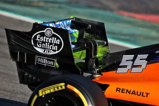 Carlos Sainz Jr (ESP) McLaren MCL35 - rear wing flow-vis paint detail. 19.02.2020. Formula One Testing, Day One, Barcelona, Spain. Wednesday. - www.xpbimages.com, EMail: requests@xpbimages.com © Copyright: Moy / XPB Images