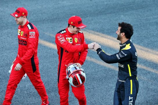 (L to R): Sebastian Vettel (GER) Ferrari with Charles Leclerc (MON) Ferrari and Daniel Ricciardo (AUS) Renault F1 Team at a drivers group photograph. 19.02.2020. Formula One Testing, Day One, Barcelona, Spain. Wednesday. - www.xpbimages.com, EMail: requests@xpbimages.com © Copyright: Moy / XPB Images