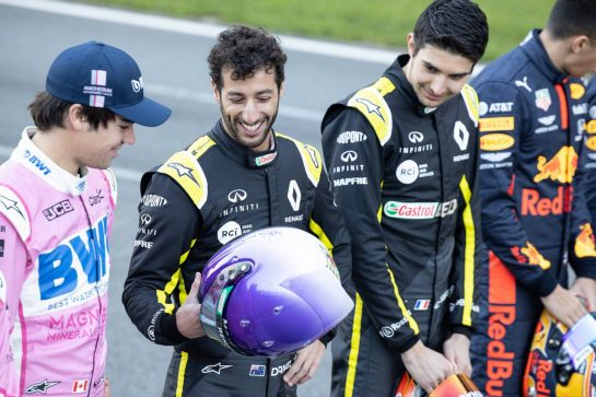 Daniel Ricciardo (AUS) Renault F1 Team and Lance Stroll (CDN) Racing Point F1 Team at a drivers group photograph. 19.02.2020. Formula One Testing, Day One, Barcelona, Spain. Wednesday. - www.xpbimages.com, EMail: requests@xpbimages.com © Copyright: Bearne / XPB Images