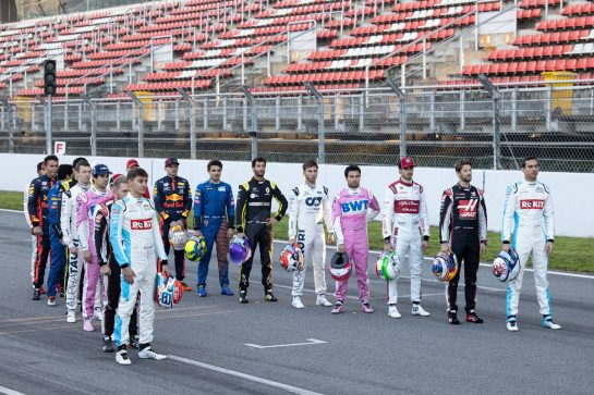 A drivers group photograph. 19.02.2020. Formula One Testing, Day One, Barcelona, Spain. Wednesday. - www.xpbimages.com, EMail: requests@xpbimages.com © Copyright: Bearne / XPB Images