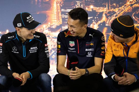 (L to R): George Russell (GBR) Williams Racing; Alexander Albon (THA) Red Bull Racing; and Lando Norris (GBR) McLaren, in the FIA Press Conference. 19.02.2020. Formula One Testing, Day One, Barcelona, Spain. Wednesday. - www.xpbimages.com, EMail: requests@xpbimages.com © Copyright: Bearne / XPB Images