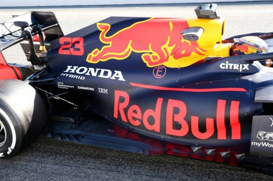 Red Bull Racing RB16 Engine cover and floor. 20.02.2020. Formula One Testing, Day Two, Barcelona, Spain. Thursday. - www.xpbimages.com, EMail: requests@xpbimages.com © Copyright: Batchelor / XPB Images