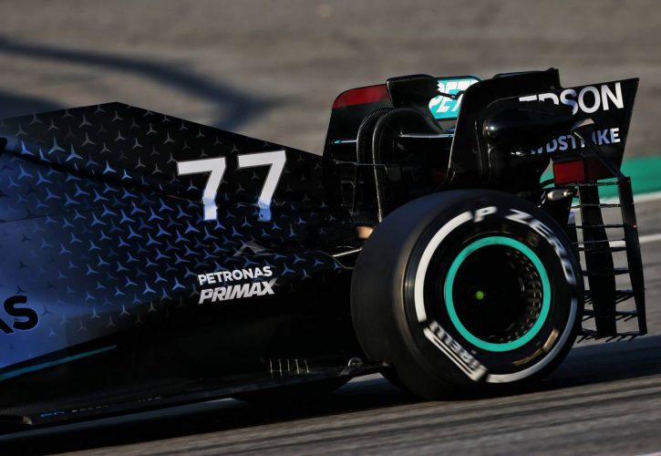 Mercedes AMG F1 W11 rear wing detail.