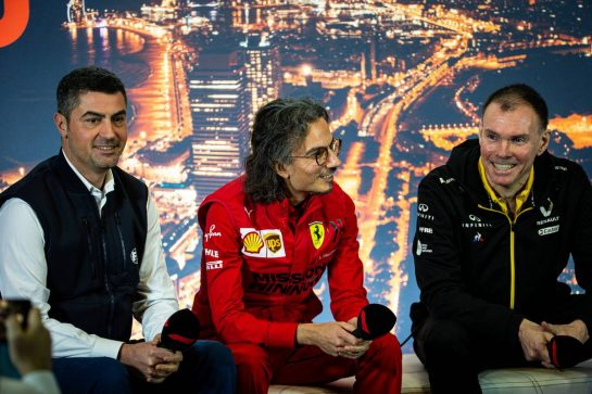 (L to R): Michael Masi (AUS) FIA Race Director; Laurent Mekies (FRA) Ferrari Sporting Director; and Alan Permane (GBR) Renault F1 Team Trackside Operations Director, in the FIA Press Conference. 21.02.2020. Formula One Testing, Day Three, Barcelona, Spain. Friday. - www.xpbimages.com, EMail: requests@xpbimages.com © Copyright: Bearne / XPB Images