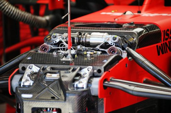 Ferrari SF1000 front suspension. 26.02.2020. Formula One Testing, Day One, Barcelona, Spain. Wednesday. - www.xpbimages.com, EMail: requests@xpbimages.com © Copyright: Batchelor / XPB Images
