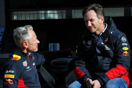 (L to R): Jonathan Wheatley (GBR) Red Bull Racing Team Manager with Christian Horner (GBR) Red Bull Racing Team Principal. 27.02.2020. Formula One Testing, Day Two, Barcelona, Spain. Thursday. - www.xpbimages.com, EMail: requests@xpbimages.com © Copyright: Batchelor / XPB Images