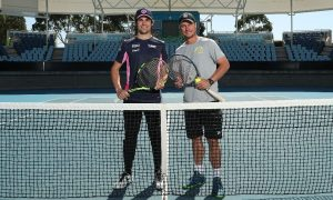 Lance Stroll hits the court with Lleyton Hewitt