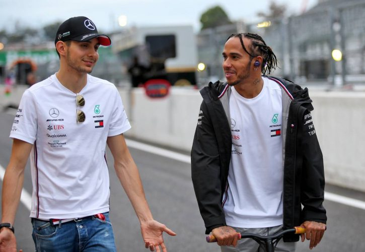 Esteban Ocon (FRA) Mercedes AMG F1 Reserve Driver with Lewis Hamilton (GBR) Mercedes AMG F1.