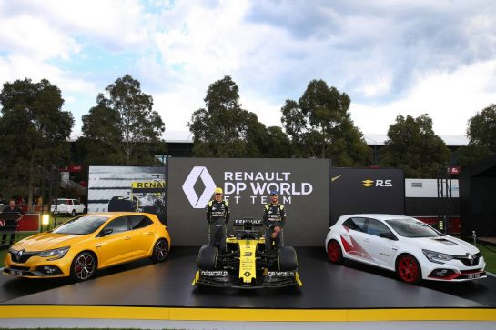 (L to R): Esteban Ocon (FRA) Renault F1 Team and Daniel Ricciardo (AUS) Renault F1 Team - livery reveal. Australian Grand Prix, Wednesday 11th March 2020. Albert Park, Melbourne, Australia. 11.03.2020. Formula 1 World Championship, Rd 1, Australian Grand Prix, Albert Park, Melbourne, Australia, Preparation Day. - www.xpbimages.com, EMail: requests@xpbimages.com © Copyright: Batchelor / XPB Images