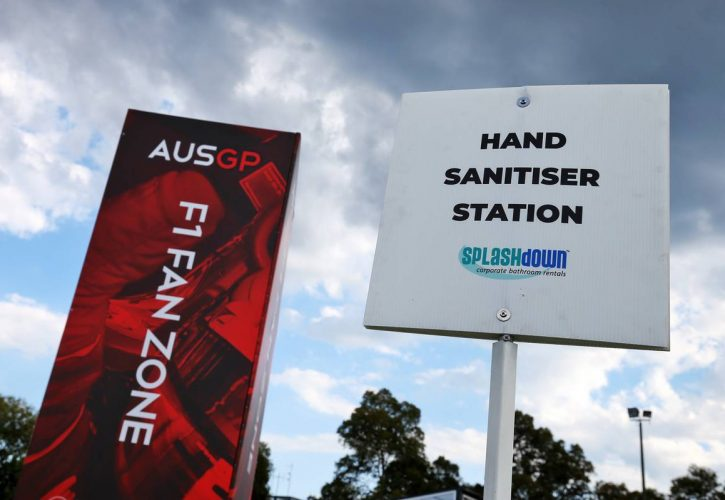 Circuit atmosphere - Hand Sanitiser Station.