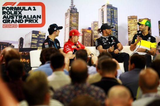 The FIA Press Conference (L to R): Nicholas Latifi (CDN) Williams Racing; Sebastian Vettel (GER) Ferrari; Lewis Hamilton (GBR) Mercedes AMG F1; Daniel Ricciardo (AUS) Renault F1 Team. 12.03.2020. Formula 1 World Championship, Rd 1, Australian Grand Prix, Albert Park, Melbourne, Australia, Preparation Day. - www.xpbimages.com, EMail: requests@xpbimages.com © Copyright: Bearne / XPB Images