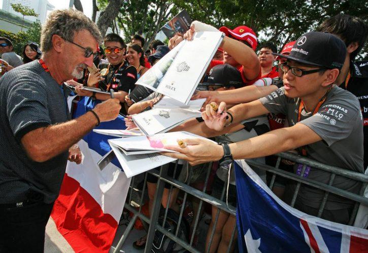 Eddie Jordan (IRE) BBC Television Pundit signs autographs for the fans. 20.09.2015