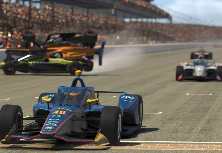Scott McLaughlin avoids the carnage to cross the Yard of Bricks to win the First Responder 175 presented by GMR at the Indianapolis Motor Speedway, the final race in the INDYCAR iRacing Challenge.