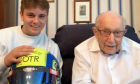 Captain Tom Moore and his grandson Benji appear on the Sky Sports F1 vodcast.