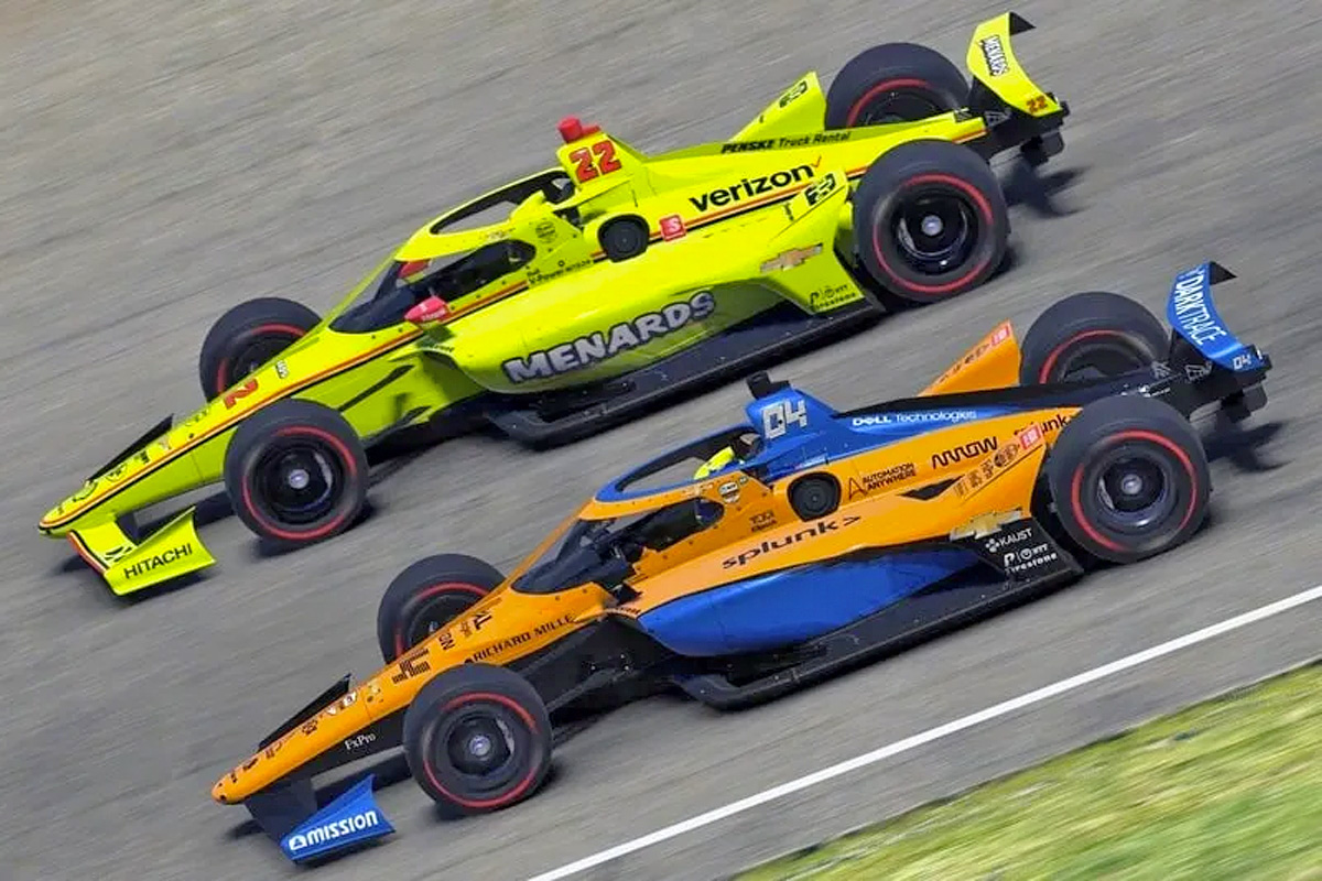 Simon Pagenaud and Lando Norris competing in the First Responder 175 presented by GMR at the Indianapolis Motor Speedway, the final race in the INDYCAR iRacing Challenge.