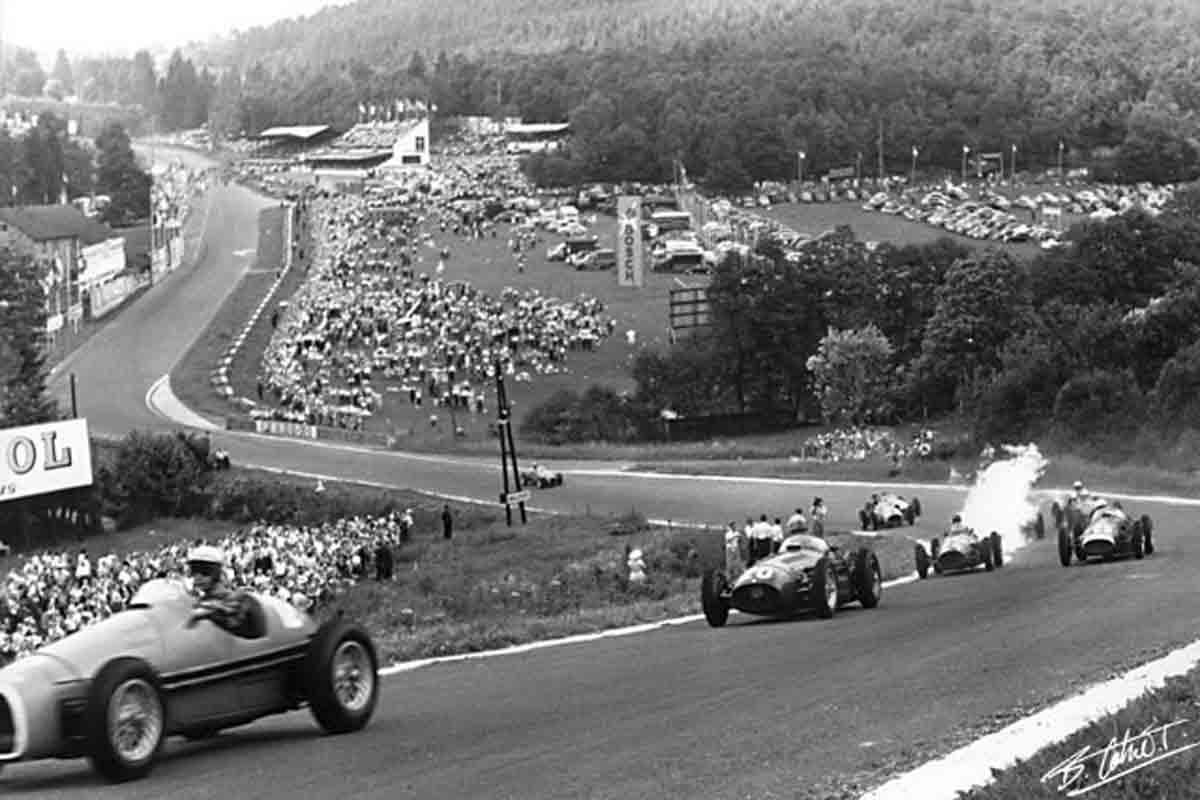 The 1954 Belgian Grand Prix at Circuit de Spa-Francorchamps.