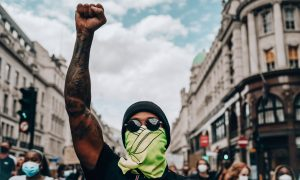 Hamilton protests with BLM movement in London