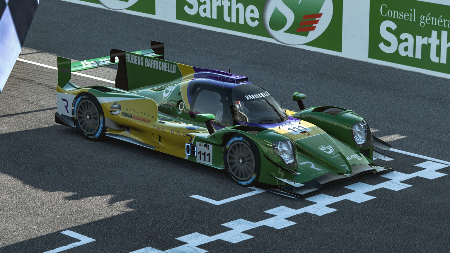 Rubens Barrichello wins The Race Legends Trophy ROKiT Triple Crown Esports race at Le Mans on June 27 2020.