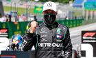Valtteri Bottas (FIN) Mercedes AMG F1 celebrates