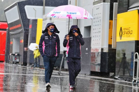 Sergio Perez (MEX) Racing Point F1 Team - heavy rain in the paddock. 11.07.2020. Formula 1 World Championship, Rd 2, Steiermark Grand Prix, Spielberg, Austria, Qualifying Day. - www.xpbimages.com, EMail: requests@xpbimages.com © Copyright: Moy / XPB Images
