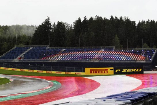 Circuit atmosphere - rainbow in the granstand seats as rain falls during qualifying. 11.07.2020. Formula 1 World Championship, Rd 2, Steiermark Grand Prix, Spielberg, Austria, Qualifying Day. - www.xpbimages.com, EMail: requests@xpbimages.com © Copyright: Charniaux / XPB Images