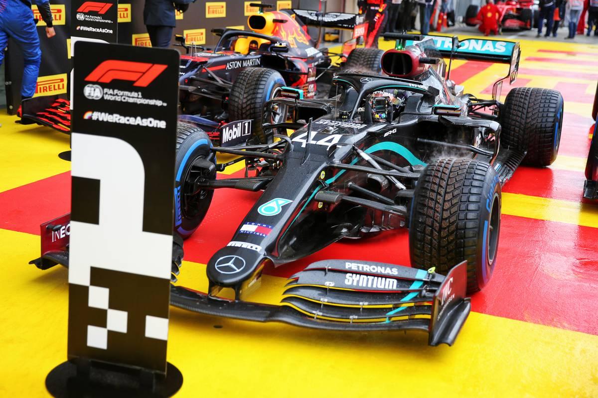 Pole sitter Lewis Hamilton (GBR) Mercedes AMG F1 W11 in qualifying parc ferme.
