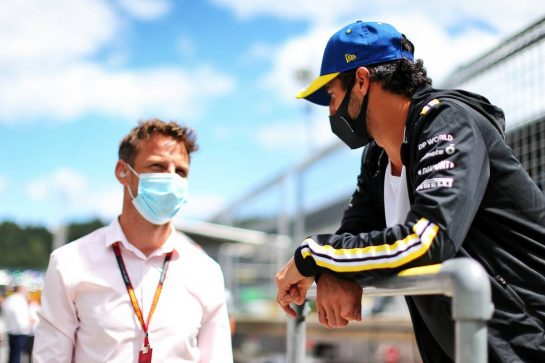 Daniel Ricciardo (AUS) Renault F1 Team with Jenson Button (GBR) Sky Sports F1 Presenter. 12.07.2020. Formula 1 World Championship, Rd 2, Steiermark Grand Prix, Spielberg, Austria, Race Day. - www.xpbimages.com, EMail: requests@xpbimages.com © Copyright: Moy / XPB Images