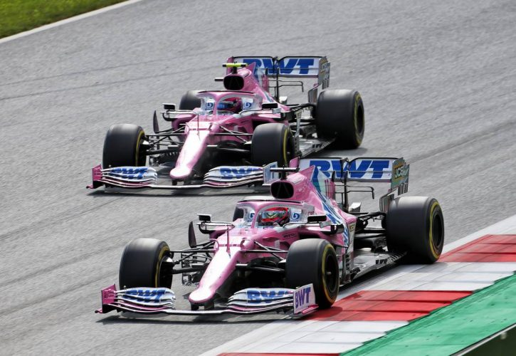 Sergio Perez (MEX) Racing Point F1 Team RP19 and team mate Lance Stroll (CDN) Racing Point F1 Team RP20.