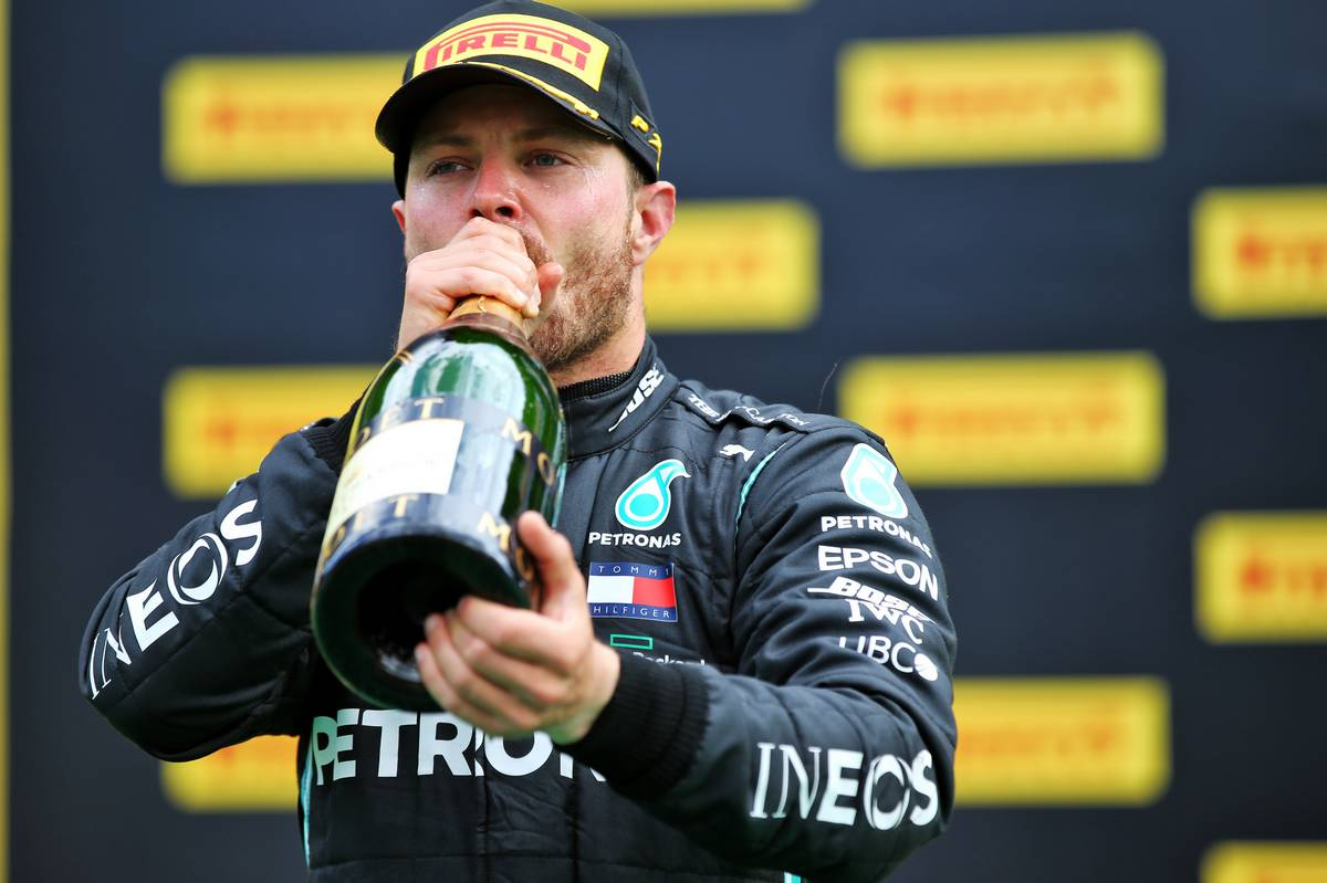 Valtteri Bottas (FIN) Mercedes AMG F1 celebrates his second position on the podium.